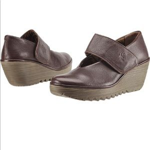 Fly London Yan Brown Mary Jane Wedges